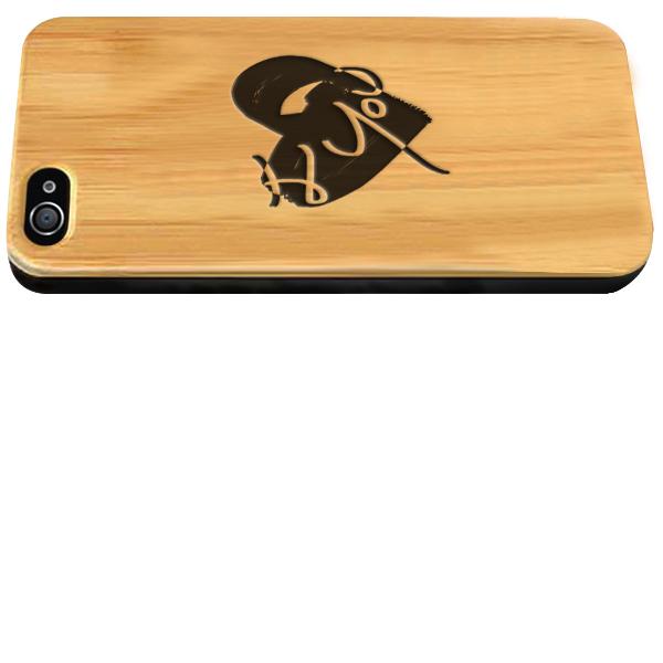 iPhone 4S Holzcase mit Icon und Text graviert